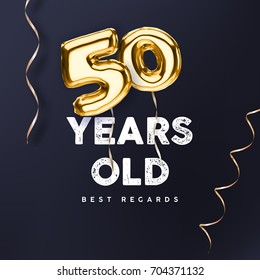 50 years old. Gold balloon number 50th anniversary, vector illustration for happy birthday congratulations