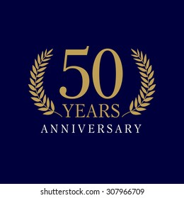 50 years old luxurious logo. Anniversary year of 50 th vector gold colored template framed of palms. Greetings ages celebrates. Celebrating laurel branches. 5 th place symbol of victory and success.