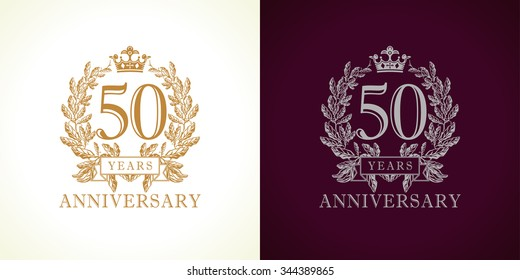 50 years old luxury logotype. Congratulating 50th numbers gold color framed in palms. Heraldic congrats concept. Celebrating tradition five and zero digits. Abstract isolated graphic design template.