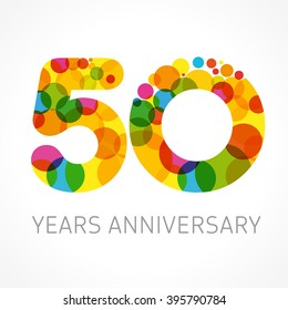 50 years old multicolored logotype. Congrats 50th greetings, congratulations pattern template. Isolated shape numbers. Abstract coloured digits of percent % off, 5th place, -50%, graphic 0, O emblem.