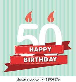 50 years old, vintage happy birthday in vector flat design