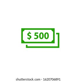 500 Cash icon. Clipart image isolated on white background