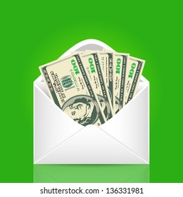 500 dollars in the envelope. Vector business illustration