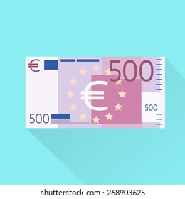 500 Euro Banknote Flat Design with Shadow Vector Illustration