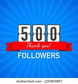 500 followers, Thank You,  social sites post. Thank you followers congratulation card. Vector stock illustration.
