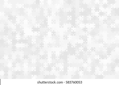 500 Grey Puzzles Pieces Arranged in a Rectangle - Vector Illustration.  Jigsaw Puzzle Blank Template or Cutting Guidelines 25:25 Ratio. Vector Background.