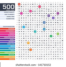 500 icons set. Vector black pictograms for web, internet, mobile apps, interface design: business, finance, shopping, communication, management, computer, media, graphic tools, hands, arrows symbols