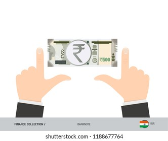 500 Indian Rupee Banknote. Business hands measuring banknote. Flat style vector illustration. Business finance concept.