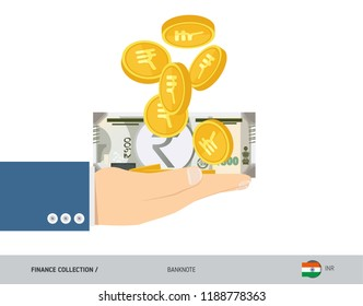 500 Indian Rupee Banknote and coins in the palm of hands. Flat style vector illustration. Finance concept.