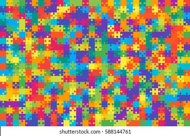 500 Multi Colored Puzzles Pieces Arranged in a Rectangle - Vector Illustration.  Jigsaw Puzzle Blank Template or Cutting Guidelines 25:25 Ratio. Vector Background.