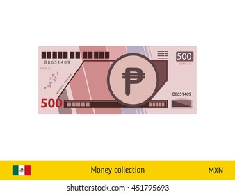 500 peso banknote illustration.