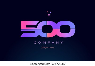 500 pink blue purple number digit numeral dots creative company logo vector icon design template