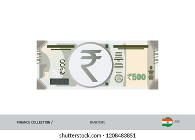 500 Rupee Banknote. Flat style highly detailed vector illustration. Isolated on white background. Suitable for print materials, web design, mobile app and infographics.