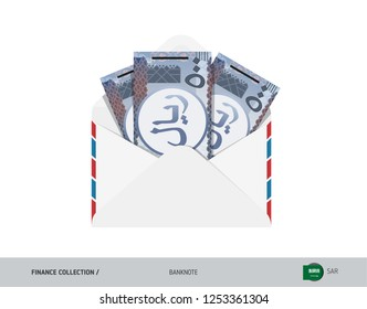 500 Saudi Arabia Riyal Banknotes in envelope. Flat style opened white envelope with cash. Salary payout or corruption concept.