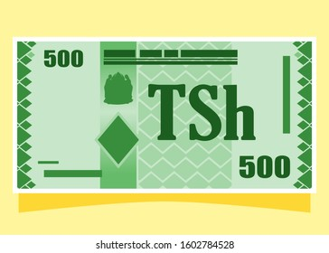 500 Tanzanian Shilling TZS banknotes paper money vector icon logo illustration and design. Tanzania business, payment and finance element. Can be used for web, mobile, infographic, and print.