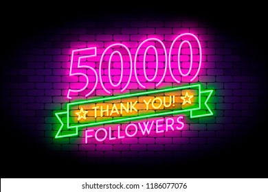 5000, 5K followers neon sign on the wall. Realistic neon sign with number of followers on the ribbon with stars. Vector illustration for celebrating a large number of subscribers in social networks.