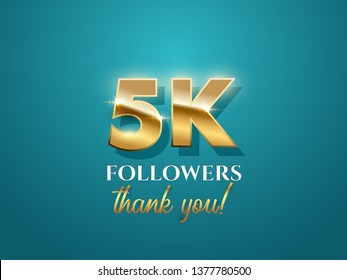 5000 followers celebration vector banner with text. Social media achievement poster. 5k followers thank you lettering. Shiny gratitude text on azure gradient backdrop