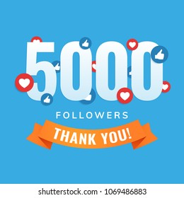 5000 followers, social sites post, greeting card vector illustration