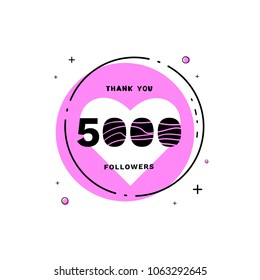 5000 followers thank you card. Celebration 5k subscribers geometric banner. Template for social media. Vector illustration.