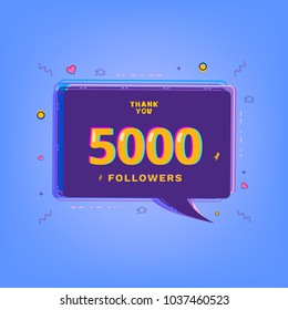 5000 Followers thank you message with speech bubble. Template for social media post. Glitch chromatic aberration style. 5K subscribers banner. Vector illustration.