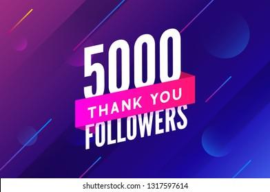 5000 followers vector. Greeting social card thank you followers. Congratulations 5k follower design template.