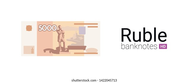 5000 rubles money of Russia.Real banknote illustration. Flat design. The most popular Russian banknote in vector graphic.