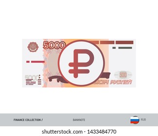 5000 Russian Ruble Banknote. Flat style highly detailed vector illustration. Isolated on white background. Suitable for print materials, web design, mobile app and infographics.