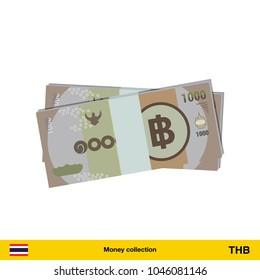 5000 Thai baht banknote. Thai baht banknote vector illustration.