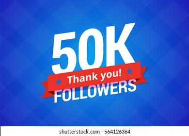 50000 followers. Vector illustration for social networks