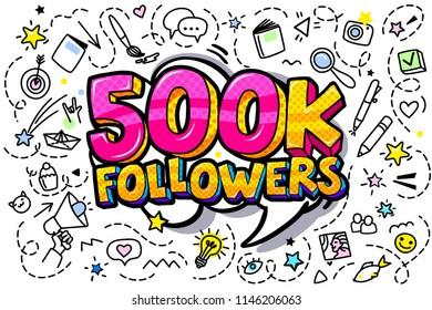 500000 followers illustration in pop art style. Vector illustration