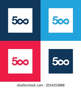 500px blue and red four color minimal icon set