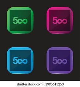 500px four color glass button icon