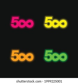 500px four color glowing neon vector icon