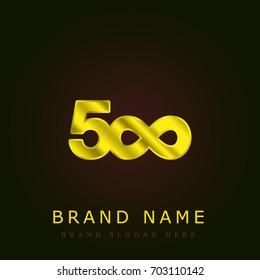 500px golden metallic logo