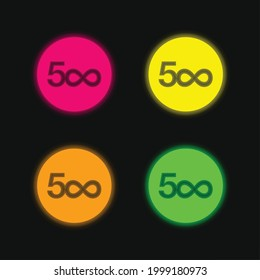 500px Logo four color glowing neon vector icon