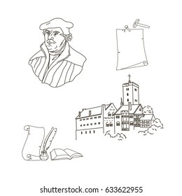 500th anniversary of protestant reformation pack: Portrait of Martin Luther, the key person in Protestant Reformation;  Wartburg in Eisenach castle; Bible, manuscript and feather. Vector Illustration