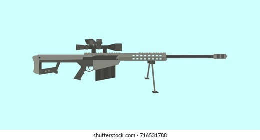 50cal caliber sniper rifle big gun with flat style illustration
