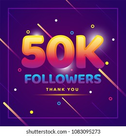 50k or 50000 followers thank you colorful background and glitters. Illustration for Social Network friends, followers, Web user Thank you celebrate of subscribers or followers and likes