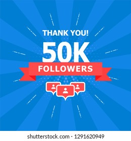 50K added folks, thank you. A combination of different objects is depicted on a blue background.