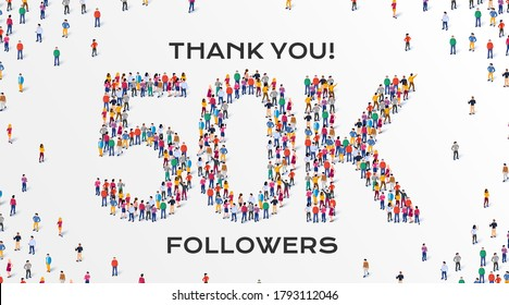 50K Followers. Group of business people are gathered together in the shape of 50000 word, for web page, banner, presentation, social media, Crowd of little people. Teamwork. Vector illustration