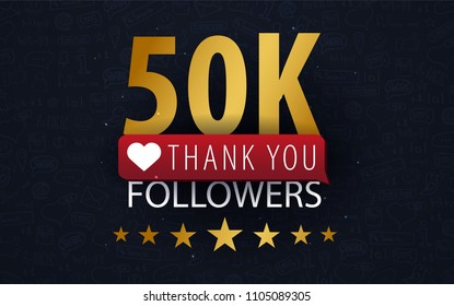 50k Followers illustration with thank you on a button. Vector illustration