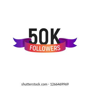 50k followers number with color bright ribbon isolated vector icon. Thank you 50000 follower web user or blogger celebrates design element