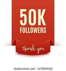 50k followers, social media banner, congratulation, celebration, vector illustration