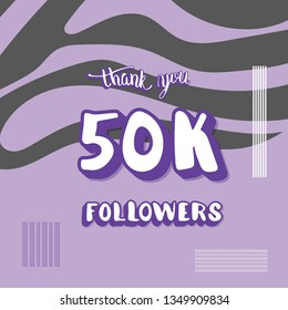 50k followers social media template. Banner for internet networks with zebra striped pattern.  50000 subscribers congratulation post. Vector illustration.