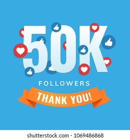 50k followers, social sites post, greeting card vector illustration