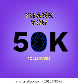 50K Followers thank you banner on bright background. Creative typography with doodle lines. Template for social media post. Vector illustration.