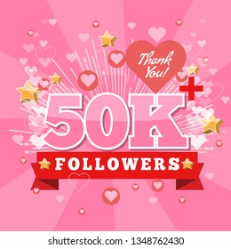 50K Followers and thank you banner background with heart bubble icons. Template for social media post. Vector Cover for your design.