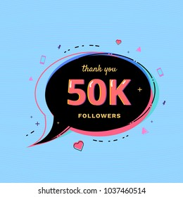 50K Followers thank you message with speech bubble and random items. Template for social media post. Glitch chromatic aberration style. 50000 subscribers banner for networks. Vector illustration.