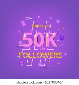 50K Followers thank you phrase with random items. Template for social media post. Glitch chromatic aberration style.  50000 subscribers banner. Ultra violet palette colors. Vector illustration.