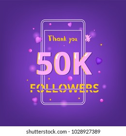 50K Followers thank you phrase. Template for social media post. Glitch chromatic aberration style. Ultra violet palette colors. 50000 subscribers banner. Vector illustration.